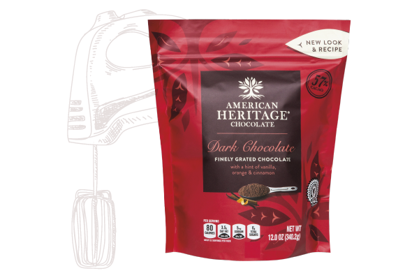 A package of American Heritage Chocolate Finely Grated Dark Chocolate with line drawing sketches behind it